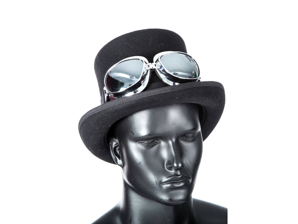 Steampunk Black Top Hat and large frame goggles waverleyg - Small ... 9c7663096ff5